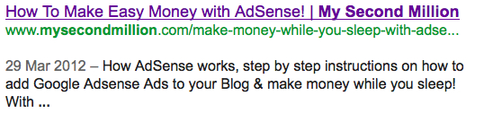 My Second Million adsense post meta description