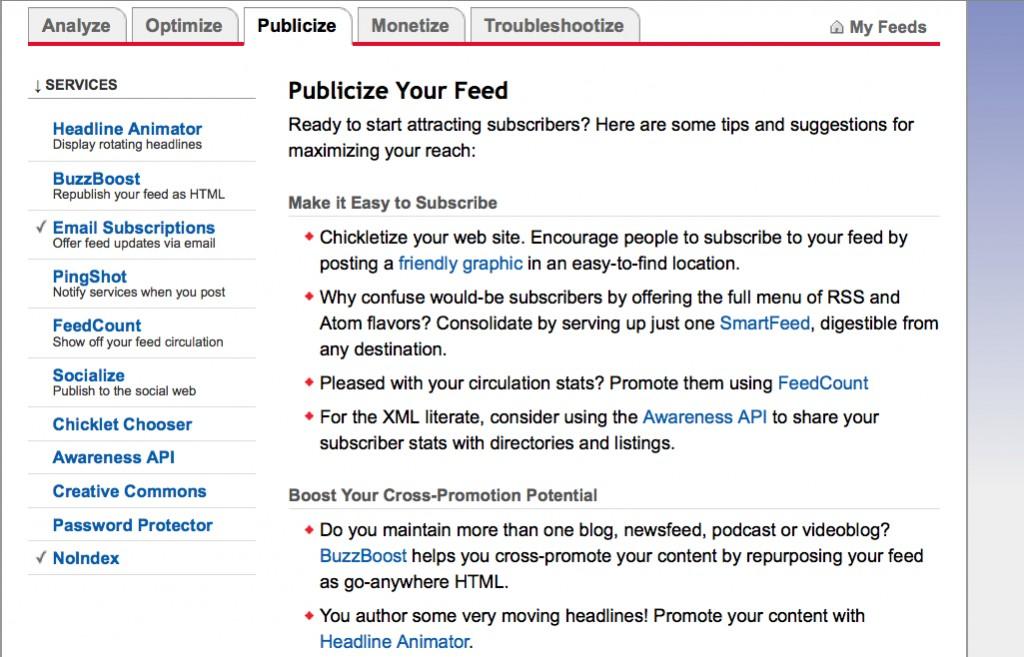 publicize screen feedburner
