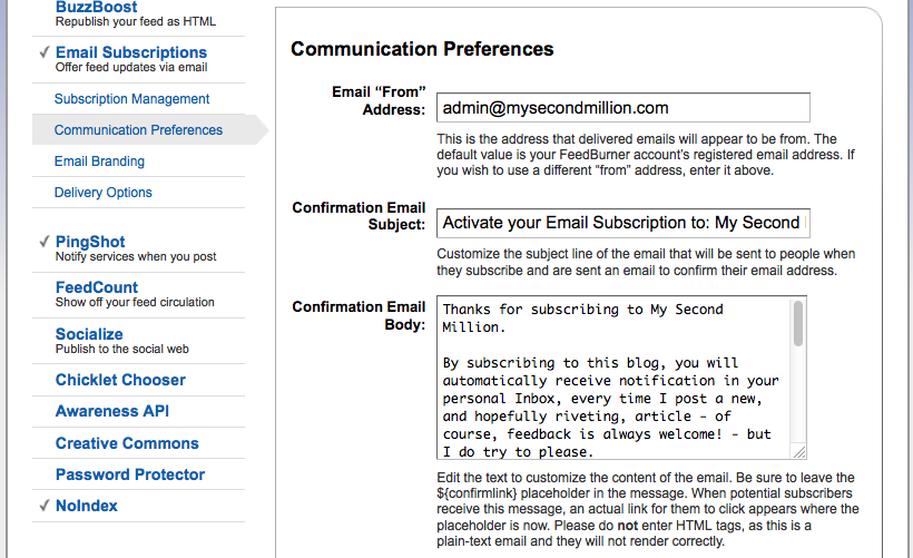 Feedburner Email Communication Preferences