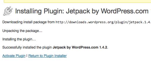 Jetpack installing