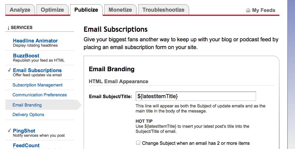 feedburner email branding