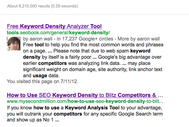 SERP Keyword Density