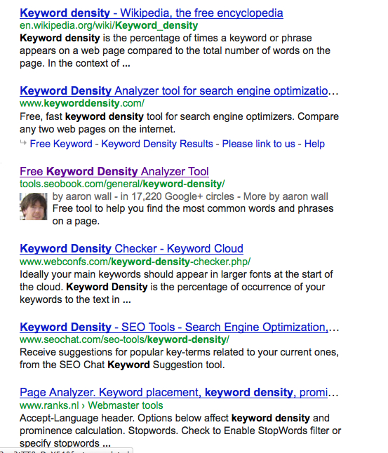 Serp for Keyword