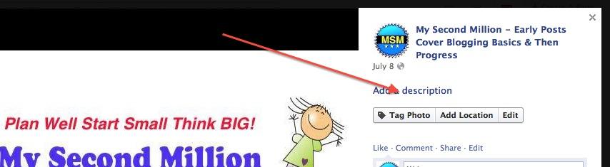 facebook add idescription