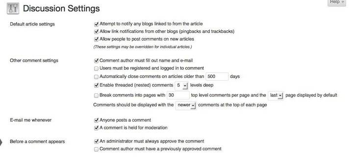 WP Discussion Settings