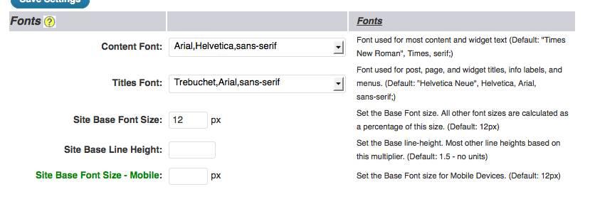 weaver admin Font options