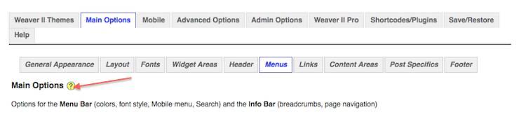 weaver admin menu