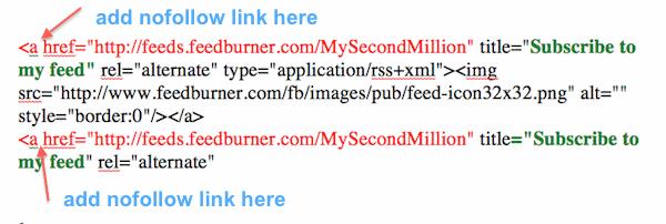 feedburner links code