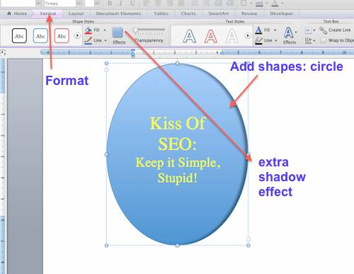 word oval shape