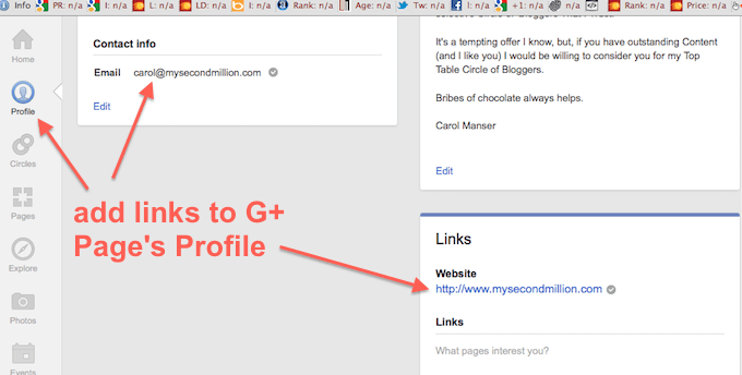 add links to Page Profile