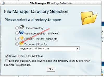 cpanel how to change document root var www html